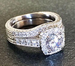 14k White Gold Round Cut Diamond Engagement Ring And Bands Halo Antique 2.00ctw