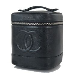 Auth CHANEL Black Caviar Leather Cosmetics Pouch Vanity Case Travel Bag #28739