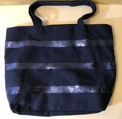 Old Navy Canvas Tote Bag Shopper Travel Shopping Beach Navy Blue with Sequins