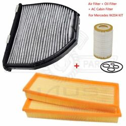 Engine Air Filter + Oil Filter + AC Cabin Filter Kit for Mercedes W204 E550 C300