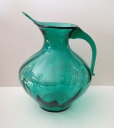 Blenko Glass Company Optic Pitcher With A Ribbed Applied Handle