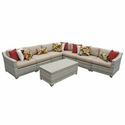 Tk Classics Fairmont 8 Piece Patio Wicker Sectional Set 08a In Wheat
