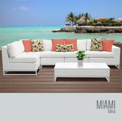 Tk Classic Miami 6 Piece Wicker Patio Left Arm Sectional In White