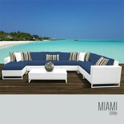 TKC Miami 9 Piece Patio Wicker Sectional Set in Navy