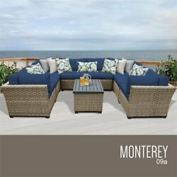 TKC Monterey 9 Piece Patio Wicker Sectional Set in Navy