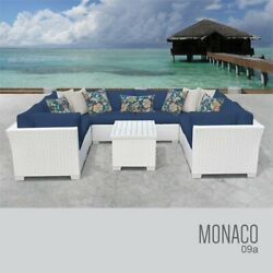 TKC Monaco 9 Piece Patio Wicker Sectional Set in Blue