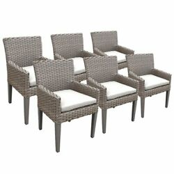 Tkc Oasis Patio Dining Arm Chair In White Set Of 6