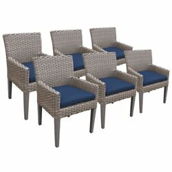 Tkc Oasis Patio Dining Arm Chair In Navy Set Of 6