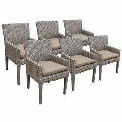 Tkc Oasis Patio Dining Arm Chair In Wheat Set Of 6