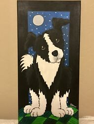 Hand painted Acrylic BORDER COLLIE Sheep Herding Dog Canvas Panel Painting