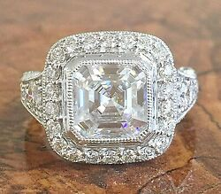 14k White Gold Asscher Forever One Moissanite And Diamond Engagement Ring 3.30ct
