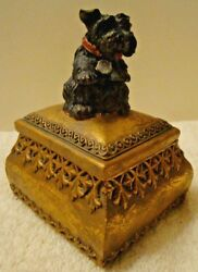 Vintage Black Scottish Terrier Scottie Dog Gold Trinket Box