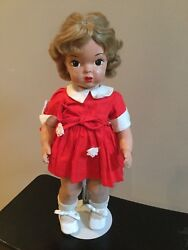 Doll Terri Lee Painted Plastic Patent Pending In Red School Dress Tagged