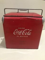 Vintage Metal Coca Cola Ice Chest With Bottle Opener