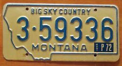 Montana 1972 Yellowstone County License Plate High Quality 3-59336