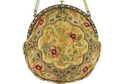 Antique Hand-Embroidered & Jeweled Frame Evening Purse