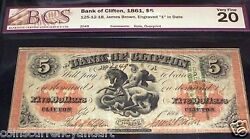 Rare Chadwick Overprint1861 5 Bank Of Clifton Canada Saint George And The Dragon