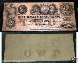 International Bank 1 - Chartered Banknote From 1858 . Cat 10-08-10