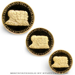 Italy 1961 Gold Centenary Of The Unification 3 Medal Set Proofs Coins 1.017 Agw