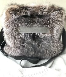 NWT Brunello Cucinelli Gray Fur Messenger Bag Monili Suede Lining Leather Straps