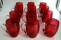Amazing Set Of Twelve French Baccarat Red Ruby Swirl Crystal Mugs Ca 1900