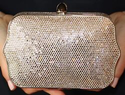 JUDITH LEIBER SWAROVSKI CRYSTAL EXQUISITE SCALLOPED SILVER BAG MINAUDIERE CLUTCH