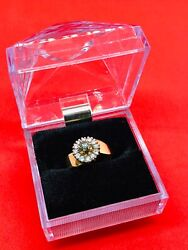 N10568 14k Dual Gold Ladies Ring With Green Stone And 12 Diamonds