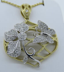 14k Two Tone Gold 0.77ct Diamond Flower And Butterfly Pendant Necklace 18 Chain