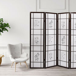 Folding 4 Panel Shoji Room Screen Divider with Flowered Pattern Privacy