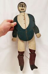 Antique Folk Art Mechanical Man Play Toy Pull On String And He Opens Arms And Legs