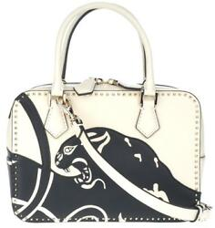 NEW VALENTINO BLACK WHITE PANTHER LEATHER MICRO ROCKSTUD TOP HANDLE SHOULDER BAG