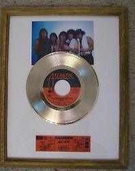 ACDC You Shook Me All Night Gold 45 Record +Promo Photo Ticket Not a Award