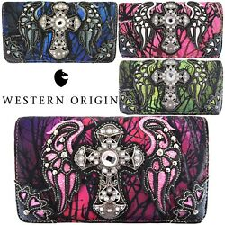 Western Camouflage Cross Wings Purse Single Shoulder Bags Clutch Women Wallet $21.95