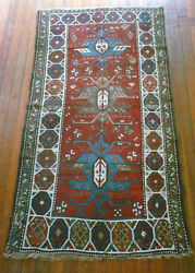 Rare Antique Caucasian Gendje Pile Rug 1890s Great Vegetable Dyes 1890and039s