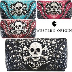Western Style Sugar Skull Studded Purse Single Shoulder Bags Clutch Women Wallet $21.95