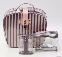 NWT Victoria's Secret Retro Inspired PinkGray Stripe Travel Bag Makeup Case