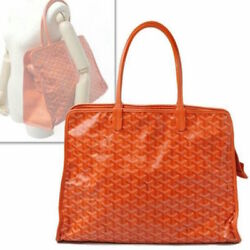 GOYARD HARDY PM Tote Bag Purse Porch Orange Canvas Leather Women Auth New Rare !