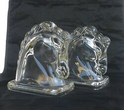 Vintage Equestrian Horse Head Glass Chess Pieces Bookends 1960's
