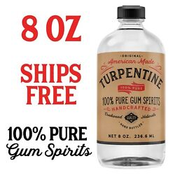 100 Pure Gum Spirits Of Turpentine, 8 Ounce Bottle Natural Spirit Turps Turp