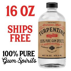 100 Pure Gum Spirits Of Turpentine, 16 Ounce Bottle Natural Spirit Turps Turp