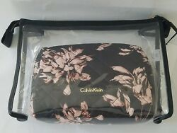 NWT 2 Piece Calvin Klein Cosmetic Travel Bag- Clear Black Pink Floral MSRP $88