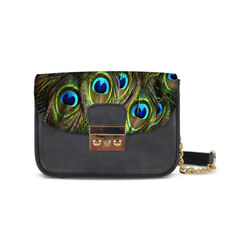 Peacock Feather Print Cross Body Chain Bag Clutch for Girls Shoulder Bag Purse