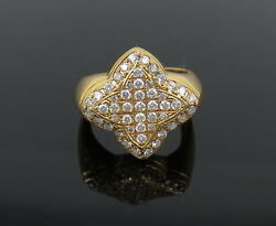 Vintage 1.0ct Fg/vs Diamond And 18k Yellow Gold Pave Star Ring Size 8