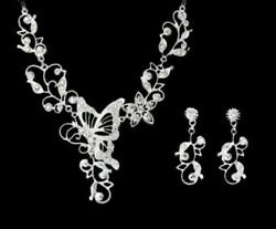 Bridal Necklace & Earrings Set Butterfly Chrome Crystal Stud Fashion 20