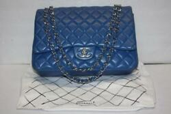 CHANEL Maxi Royal Blue Leather Double Flap Handbag Diamond Quilted Shoulder Bag
