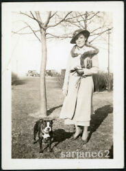 PRETTY & STYLISH WOMAN with her HANDSOME BOSTON TERRIER PET DOG VINTAGE PHOTO