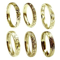 3mm Vintage Hand Engraved Wedding Rings 18ct Yellow Gold Court Comfort New Uk Hm