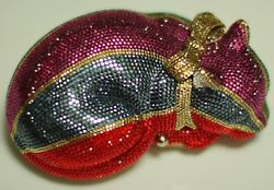 JUDITH LEIBER RESTING CHESHIRE CAT SWAROVSKI CRYSTAL MINAUDIERE EVENING BAG