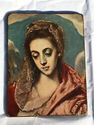 Antique Vintage El Greco Holy Family With St. Anne Off Set Painting Reproduction