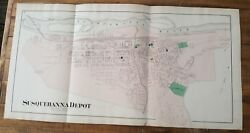 Antique Colored Map Of Susquehanna Depot - Pennsylvania / A. Pomeroy And Co. 1872